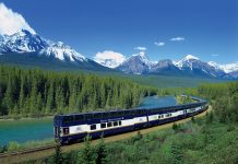 Canadian Rockies in a glass train