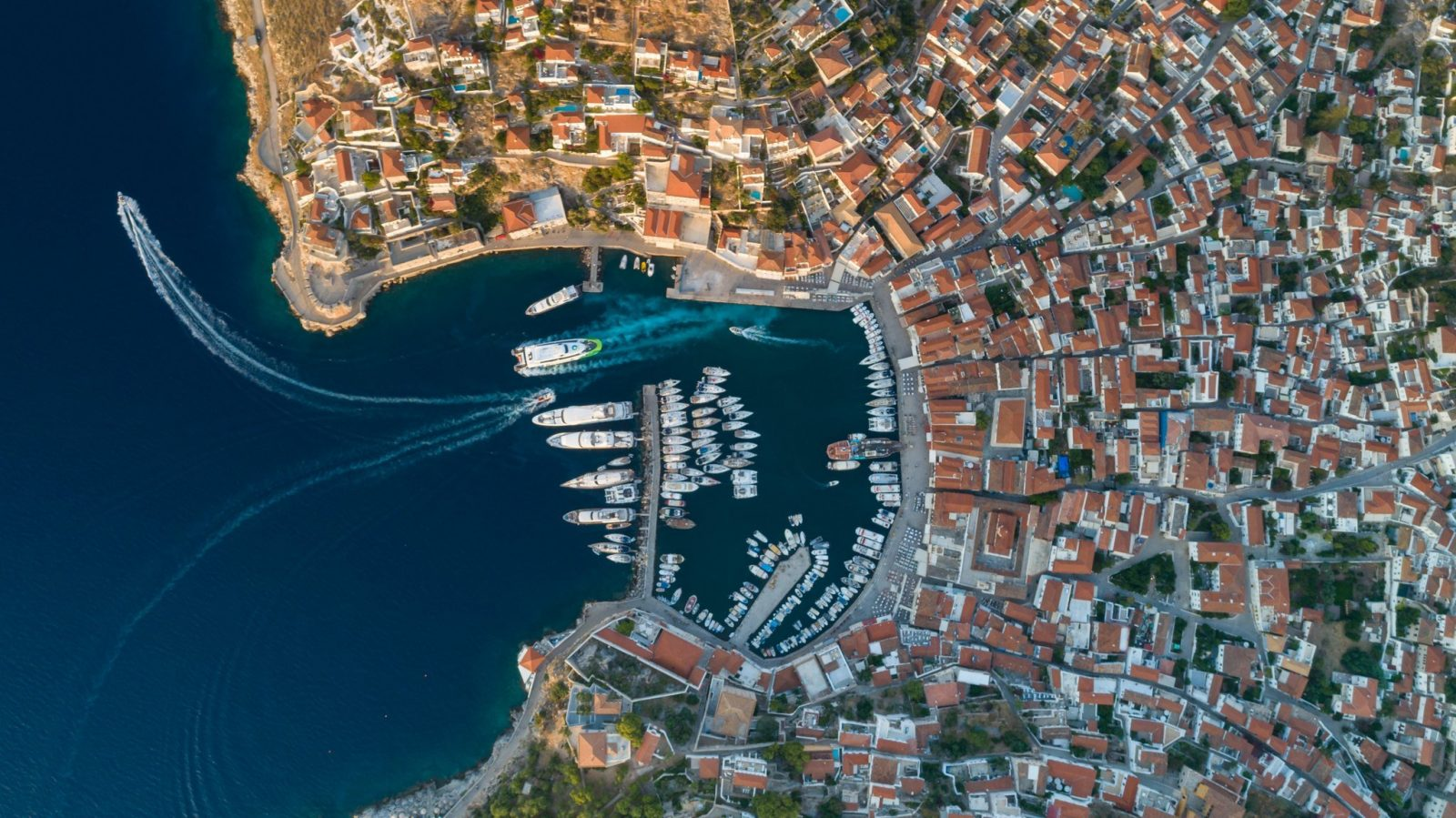 Aerial of Hydra town Greece