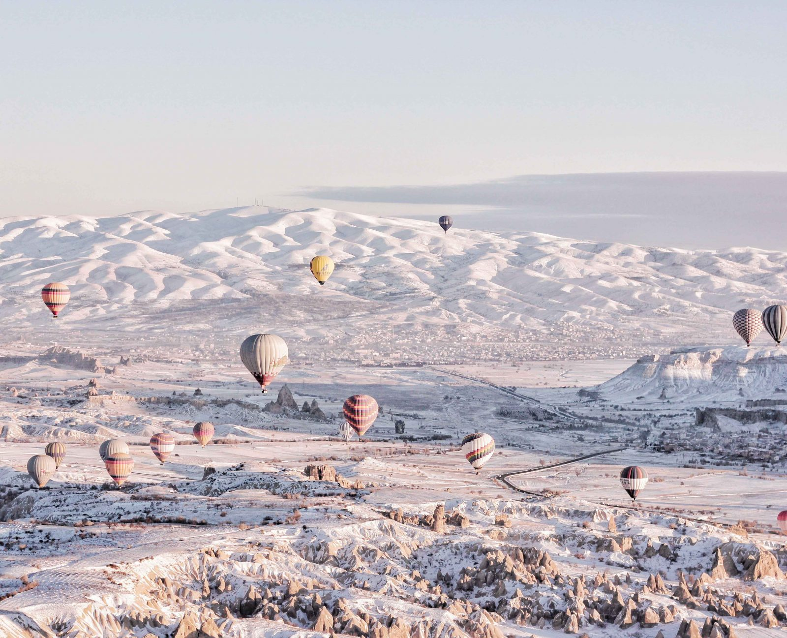 cappadocia hot air balloons during winter_