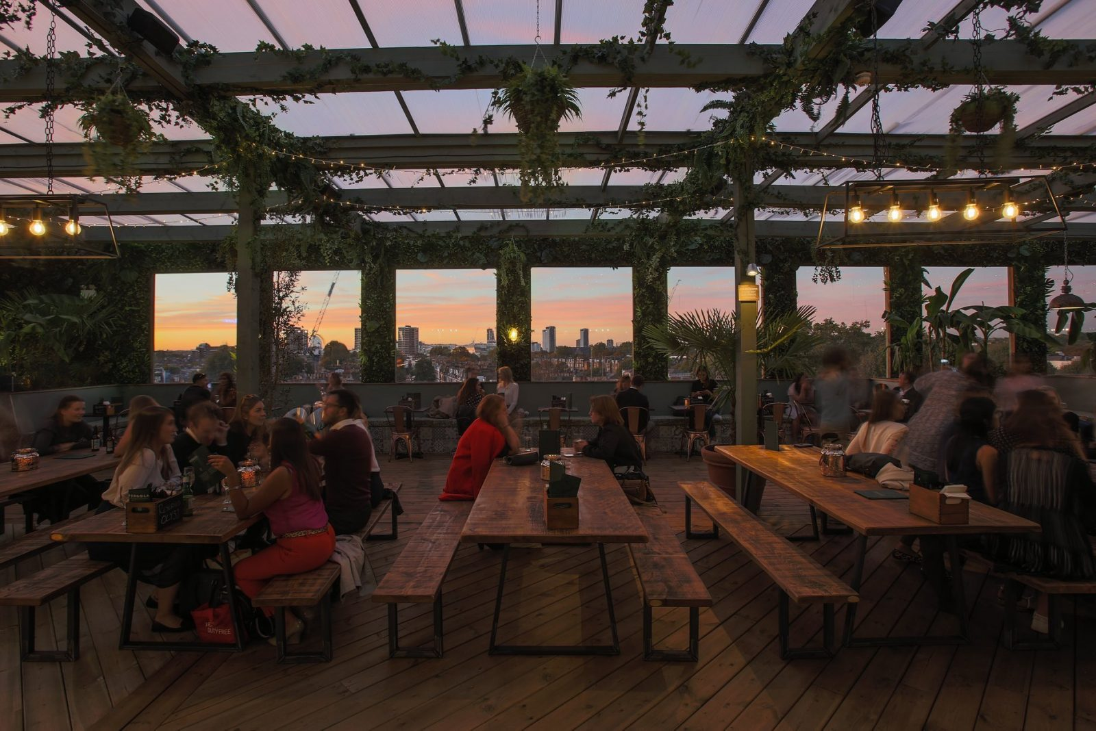 festive rooftop bars in london Pergola Olympia
