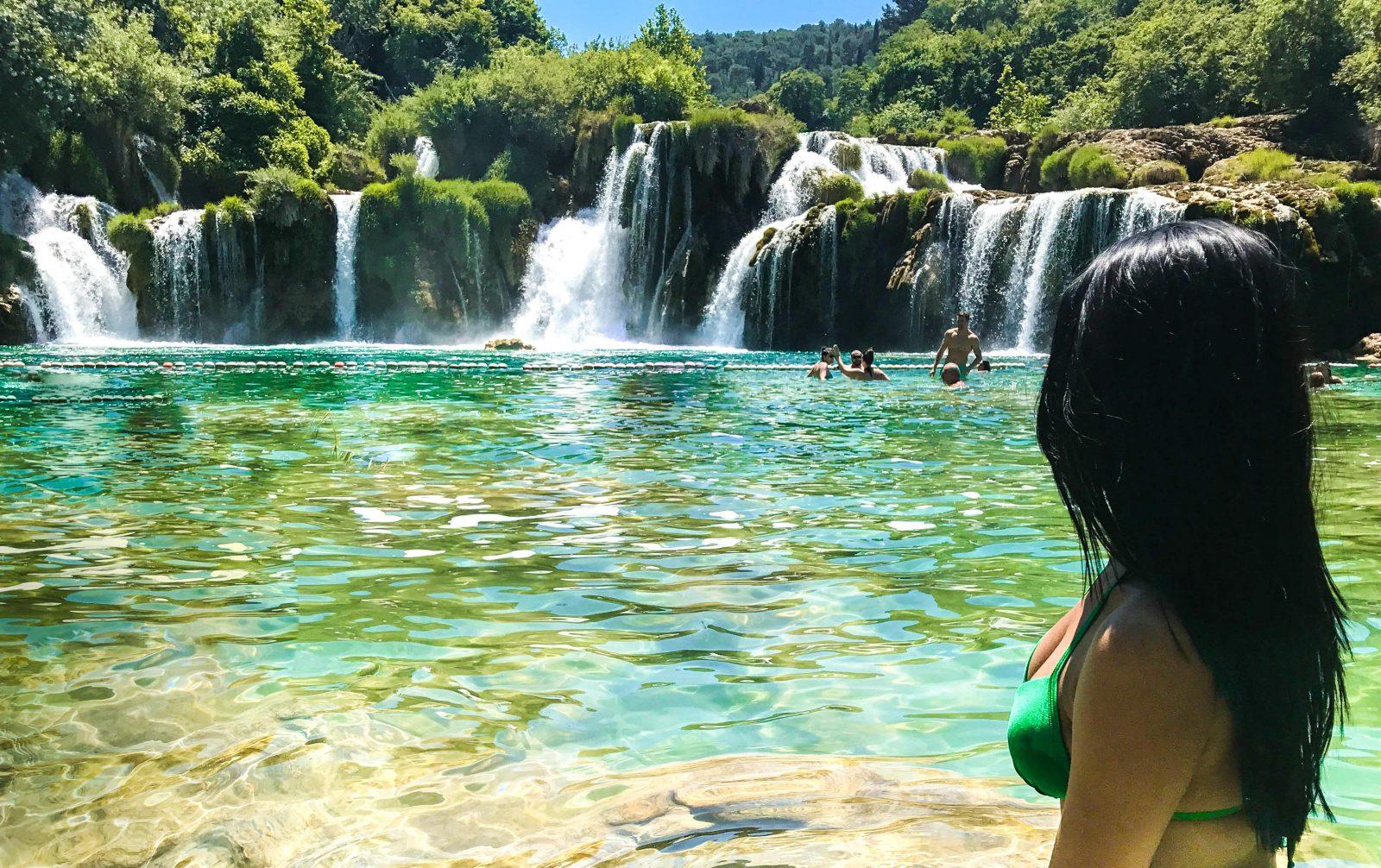 girl in krka waterfalls