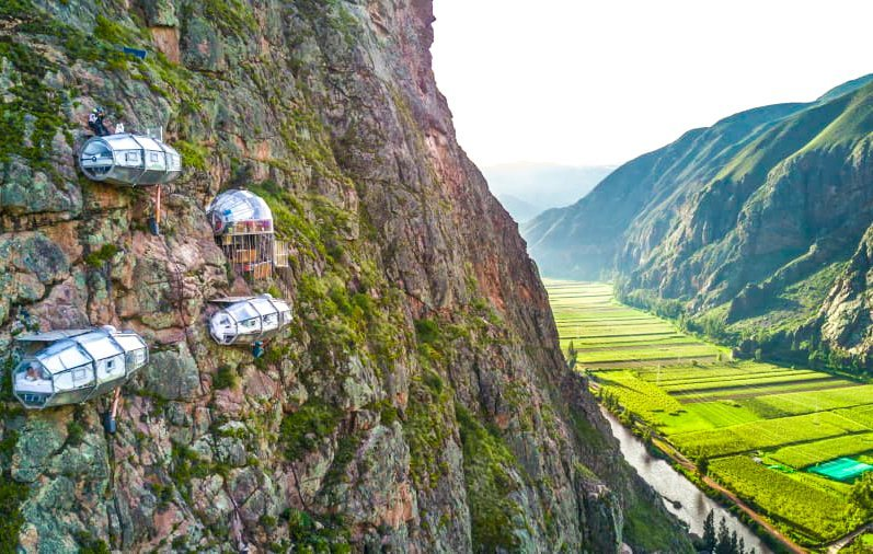 hanging hotel peru sky lodge in peru valley