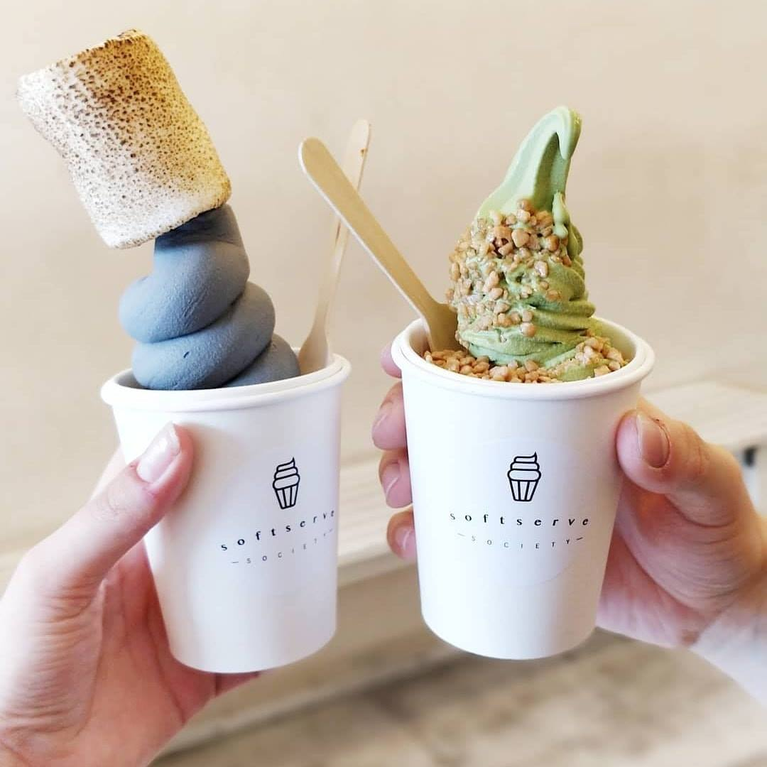 matcha ice cream and charcoal ice cream in london