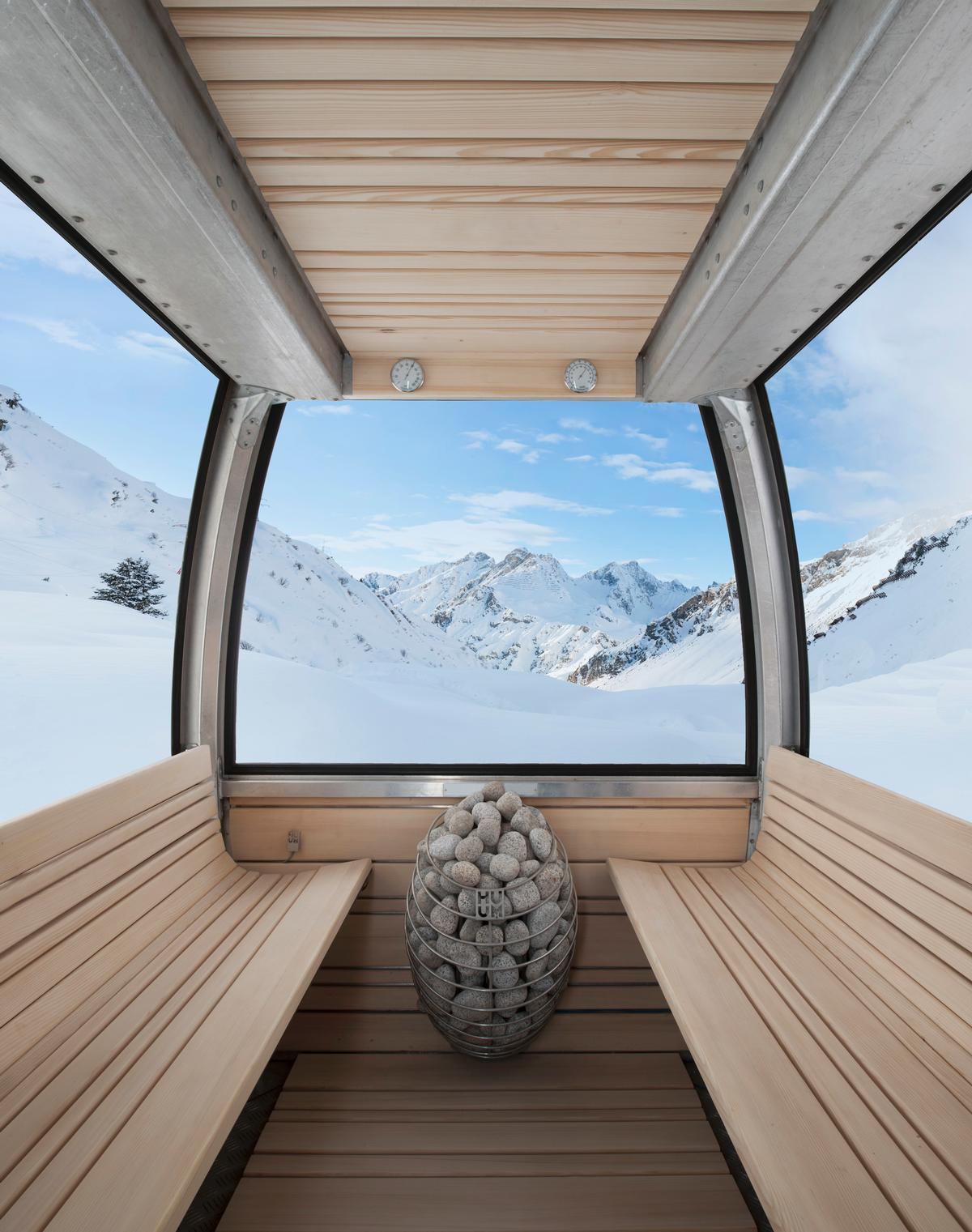 sauna in a gondola finland