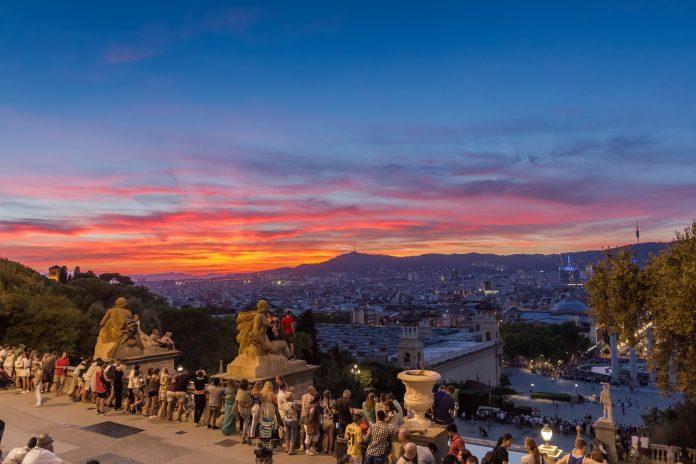 sunset at Montjuic barcelona