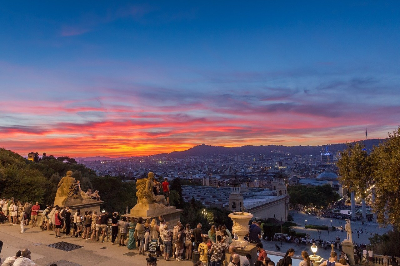 sunset at Montjuic barcelona
